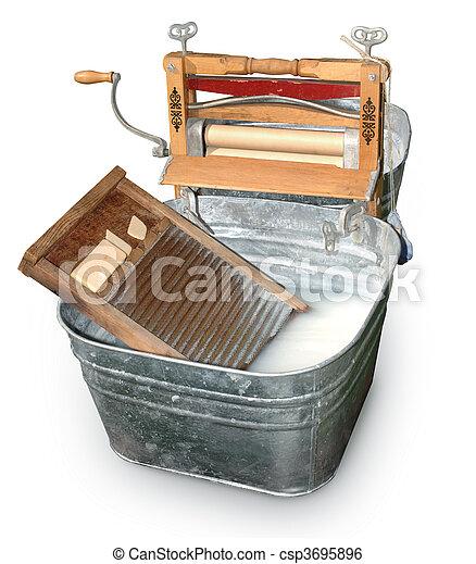 Wash Tub & Ringer - csp3695896